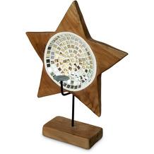 Niehoff Dekokerzenhalter STAR 37x49x17cm Teak geschliffen innen mit Glas-Mosaik-Einlage silber ohne Kerze