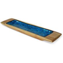 Niehoff Dekoschüssel MOSAIK 60x14x5cm Teak geschliffen innen mit Glas-Mosaik-Einlage blau koloriert