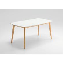 Niehoff Design-Tisch SOHO 160x90cm Platte MDF weiß / Bootsform Gestell Buche massiv natur