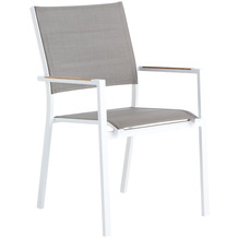 Niehoff Garden Armlehnstuhl NANTES Gestell Aluminium, pulverbeschichtet, Farbton weiss Sitz und Rücken Textilene taupe Armauflagen Teak massiv 56x89x61cm