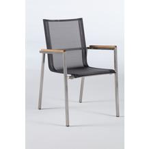 Niehoff Garden Armlehnstuhl NOOVE Sitz und Rücken Textilene silbergrau Gestell Edelstahl gebürstet
