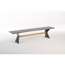 Niehoff Garden Bank NERO Sitzfläche HPL Beton Gestell Winkelwange schwarz mit Steg in Teak 220x40 / 46cm
