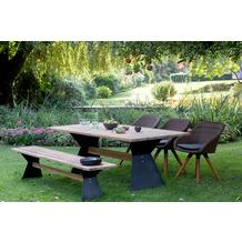Niehoff Garden Bank NERO Sitzfläche Teak massiv recycelt Gestell Winkelwange schwarz mit Steg in Teak 200x40 / 46cm