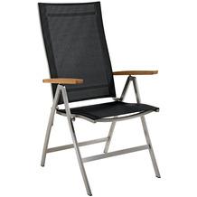 Niehoff Garden Klappsessel MILFORD Sitz und Rücken Batyline schwarz, Armlehnen Teak geölt 68x112x65cm