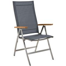 Niehoff Garden Klappsessel MILFORD Sitz und Rücken Batyline silbergrau, Armlehnen Teak geölt 68x112x65cm