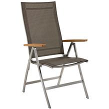 Niehoff Garden Klappsessel MILFORD Sitz und Rücken Batyline taupe, Armlehnen Teak geölt 68x112x65cm