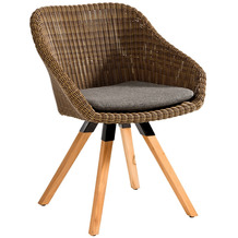Niehoff Garden Stuhl NIZZA Sitzschale Viro geflecht red pine Gestell 4 Fuß Teak massiv 64x80x62cm