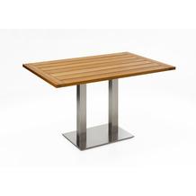 Niehoff Garden Tisch BISTRO Tischplatte Teak massiv geölt Untergestell Edelstahl Doppelprofilsäule 120x81 / 76cm