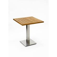 Niehoff Garden Tisch BISTRO Tischplatte Teak massiv geölt Untergestell Edelstahl Profilsäule 68x68 / 76cm