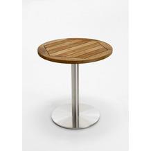 Niehoff Garden Tisch BISTRO Tischplatte Teak massiv geölt Untergestell Edelstahl Profilsäule 70 / 76cm