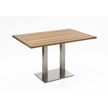 Niehoff Garden Tisch BISTRO Tischplatte Teak massiv recycelt Untergestell Edelstahl Doppelprofilsäule 120x81 / 76cm