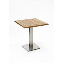 Niehoff Garden Tisch BISTRO Tischplatte Teak massiv recycelt Untergestell Edelstahl Profilsäule 81x81 / 76cm