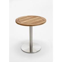 Niehoff Garden Tisch BISTRO Tischplatte Teak massiv recycelt Untergestell Edelstahl Profilsäule 125 / 76cm
