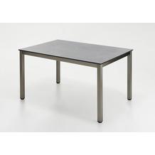Niehoff Garden Tisch NELSON HPL Beton Gestell 4-Fuss mit Zargen Edelstahl gebürstet 141x95 / 76cm