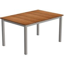 Niehoff Garden Tisch NELSON Teak massiv gebürstet Gestell 4-Fuss mit Zargen Edelstahl gebürstet 141x95 / 76cm