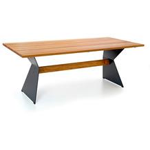Niehoff Garden Tisch NERO Tischplatte Teak massiv gebürstet Gestell Winkelwange mit Steg in Teak 180x95 / 76cm