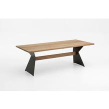 Niehoff Garden Tisch NERO Tischplatte Teak massiv recyceld Gestell Winkelwange mit Steg in Teak 160x95 / 76cm