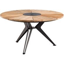 Niehoff Garden Tisch NEXOR Teak massiv recycelt Mitteleinlage 3-Fuss Stern, anthrazit G543262140 140 / 75cm