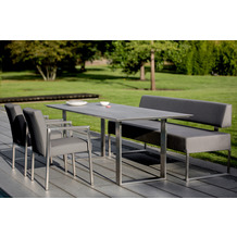 Niehoff Garden Tisch NOAH Tischplatte HPL Beton Gestell Profilkufe Edelstahl 220x95 / 76cm