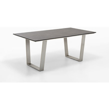 Niehoff Garden Tisch NOAH Tischplatte HPL Granit Gestell Trapezkufe Edelstahl 160x95 / 76cm