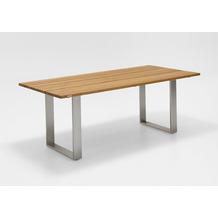 Niehoff Garden Tisch NOAH Tischplatte Teak massiv gebürstet Gestell Profilkufe Edelstahl 200x95 / 76cm