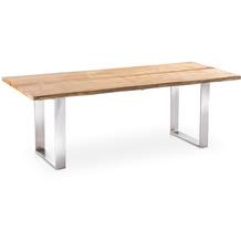 Niehoff Garden Tisch SOLID Tischplatte 40mm, Teak massiv 2 teilig mit Baumkante 220x95 / 76cm