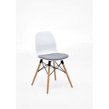 Niehoff Schalenstuhl ROBIN 4-Fussgestell Buche Metallstreben Eisen schwarz Sitzschale Kunststoff white mit Sitzpad in grau