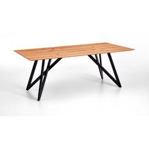 Niehoff Tisch FOREST 220x100cm Wildbuche furniert Plattenkante Facette Gestell Winkelfuß Eisen schwarz