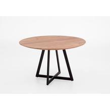 Niehoff Tisch MANILA Durchmesser 130 cm Edel-Akazie massiv natural matt Kreuz-Gestell schräg Eisen schwarz