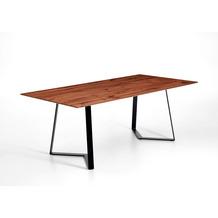 Niehoff Tisch SCHERWOOD 180x100cm Thermo-Eiche furniert Plattenkante Facette Design-Kufe Eisen schwarz
