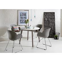 Niehoff Tisch SOHO rund 100cm Dm Platte MDF weiß Gestell Buche massiv transparent grau lackiert