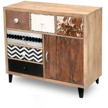 Niehoff Vintage Anrichte MANGO Holz vollmassiv Fronten Materialmix Retro-Füße schwarz 1 Tür, 6 Schubkästen