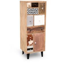 Niehoff Vintage Highbard MANGO Holz vollmassiv Fronten Materialmix Retro-Füße schwarz 1 Tür, 9 Schubkästen