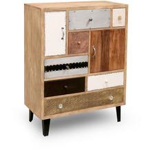 Niehoff Vintage Highboard MANGO Mango Holz vollmassiv Fronten im Materialmix Retro-Füße schwarz 2 Türen, 7 Schubkästen