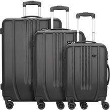 NOWI Hardshelled 3.0 4-Rollen Kofferset 3tlg. mit Doppelrollen schwarz