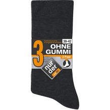"""nur der Herren """"Ohne Gummi Socken 3er"""" grau 39-42"""