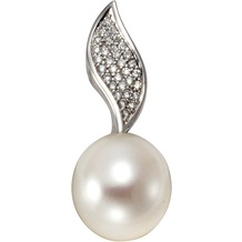 Orolino Anhänger 585/- Weißgold Perle Brillanten Silbergrau 12869