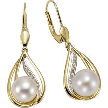 Orolino Ohrhänger 585/- Gelbgold Perlen Brillanten  12795