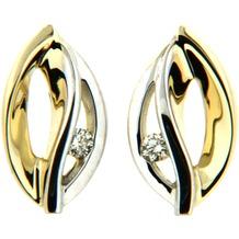 Orolino Ohrstecker 585/- Gold Brillant SI Vollschliff  Rund mehrfarbig 6323