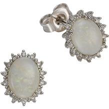 Orolino Ohrstecker 585/- Weißgold Opal Brillanten Silbergrau 12789