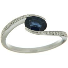 Orolino Ring 585/- Weißgold mit Brillant und Safir Silbergrau 6261 56 (17,8)