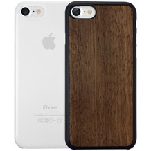 Ozaki O!Coat 0.3 Jelly + Wood Case - Apple iPhone 7 - ebony & transparent