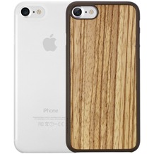 Ozaki O!Coat 0.3 Jelly + Wood Case - Apple iPhone 7 / iPhone 8 / iPhone SE 2020 - zebrano & transparent