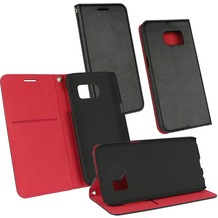 Fontastic OZBO PU Tasche Diary Supra - schwarz/rot - für Samsung Galaxy S7 Edge