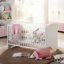 PACK'S Babybett incl. Lattenrost Aik, 3-fach höhenverstellbar, alpinweiß, Absetzungen rosa, AR932.702S.70