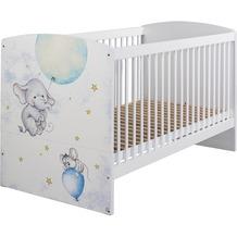 PACK'S Babybett incl. Lattenrost Jemma, 3-fach höhenverstellbar, Pr.ElefantMaus/Weiß, AA088.700Q.70