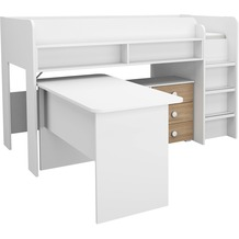 PACK'S Hochbett/Schreibtischkombination Filipo weß/eiche sonoma 90x200 cm