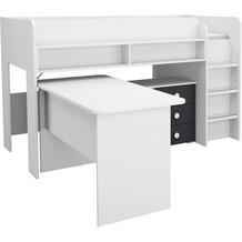 PACK'S Hochbett/Schreibtischkombination Filipo weiß/Graumetallic 90x200 cm
