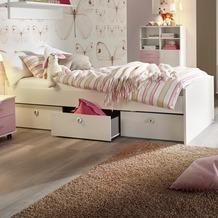 PACK'S Kinderbett Aik, mit Lattenrost, Alpinweiß, Schubkasten rosa, AR932.0701.70