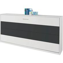 PACK'S Querklappbett Albero, mit Lattenrost Liegefläche 90/200, Weiß/Weiß/Grau met, A9P98.7500